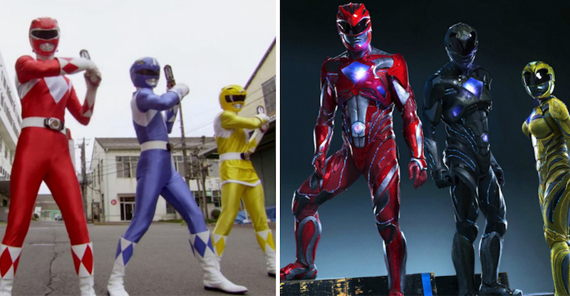 Power Rangers from 1993 and 2017